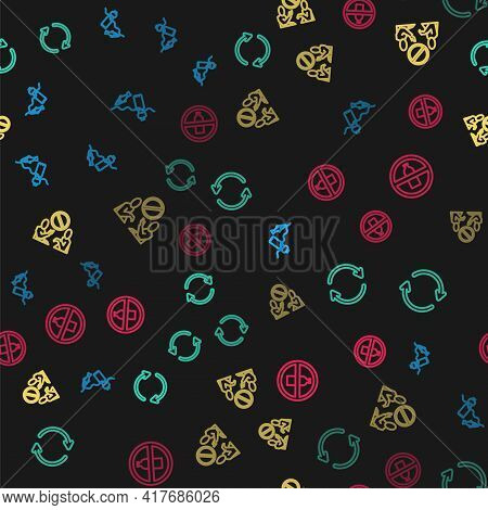 Set Line Problem Pollution Of The Ocean, Refresh, Stop Plastic And No Bottle On Seamless Pattern. Ve