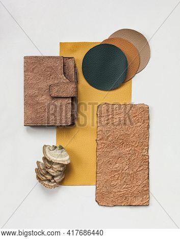 Vegan Leather Wallet Made From Mushroom Mycelium, Vegan Bio Leather Samples Top View, Eco Friendly C
