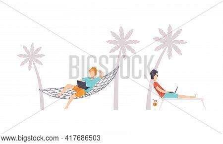 Young Man Sitting In Hammock In Front Of Laptop And Working From Home Vector Set