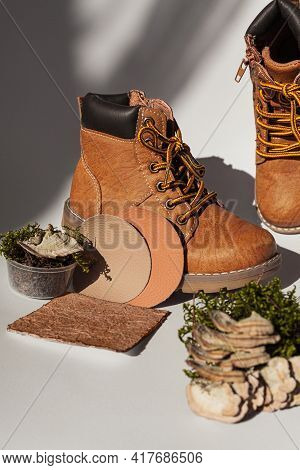 Vegan Leather Shoes From Mushroom Mycelium. Samples Of Vegan Bio Leather, Eco Friendly Concept