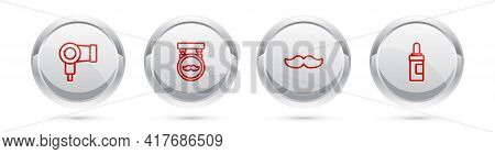 Set Line Hair Dryer, Barbershop, Mustache And Beard And Mustaches Care Oil Bottle. Silver Circle But