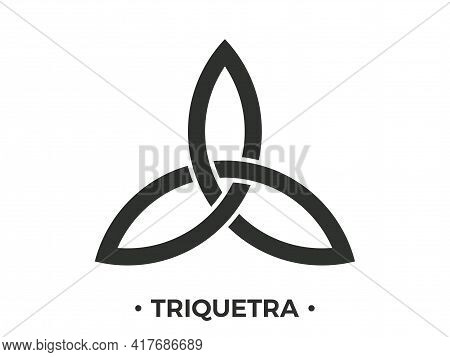 Triquetra Symbol Isolated  On White Background. Trinity Or Trefoil Knot. Celtic Symbol Of Eternity.