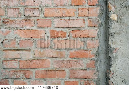 Hand Made Brick Wall Made From Bricks, Abstract Background Texture With Old Dirty And Vintage Style