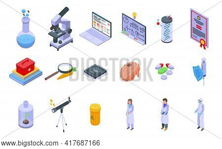 Research Scientist Icons Set. Isometric Set Of Research Scientist Vector Icons For Web Design Isolat