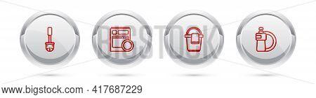 Set Line Toilet Brush, Kitchen Dishwasher Machine, Bucket With Rag And Dishwashing Liquid Bottle And