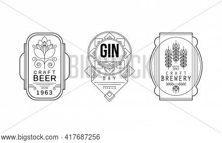 Alcohol Labels With Craft Beer And Gin Vector Set