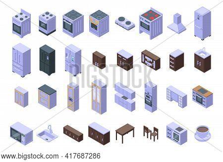 Kitchen Furniture Icons Set. Isometric Set Of Kitchen Furniture Vector Icons For Web Design Isolated