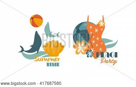 Composition With Dolphin And Swimsuit As Beach Holiday And Summer Vacation At Sea Shore Vector Set