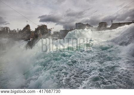 Waterfall at Rhine Falls in Switzerland, highest flow rate in Europe