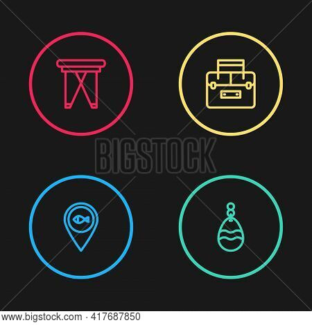 Set Line Location Fishing, Fishing Spoon, Case Container For Wobbler And Folding Chair Icon. Vector