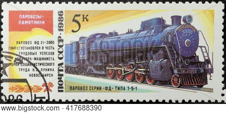 Ussr - Circa 1986: Postage Stamp 'steam Locomotive Series Fd Type 1-5-1' Printed In Ussr. Series: 's