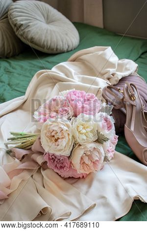 Beautiful Wedding Bouquet. Bridal Bouquet Of White And Pink Peonies. Preserved Flowers. Bridal Morni