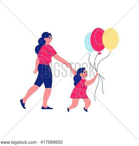 Circus Funfair Composition With Character Of Little Girl With Balloons And Mother Vector Illustratio