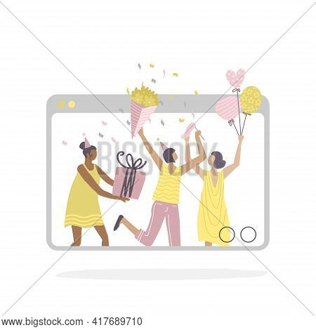 Online Birthday Party And Online Meeting Friends. Friends Communicate Via Video Chat. Women Have Fun
