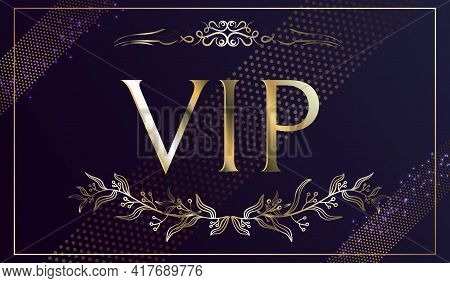 Vectors Vip Card. Gold Card. Blue Gradient Print Geometric Ornament In Oriental Style. Background Wi