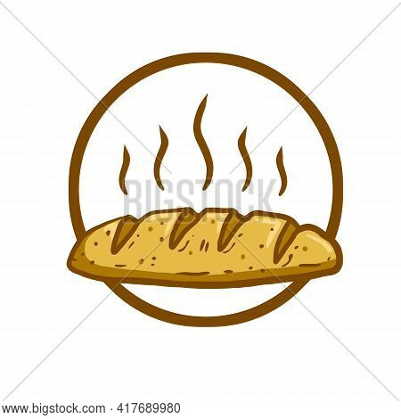 Logo Of Bread. Set Of Loaves. Emblem Of The Bakery. Brown Fried Crust. Cartoon Illustration. Natural