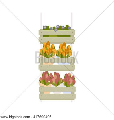 Floristics Flat Composition With Isolated Image Of Colorful Flowers In Boxes For Sale On Blank Backg
