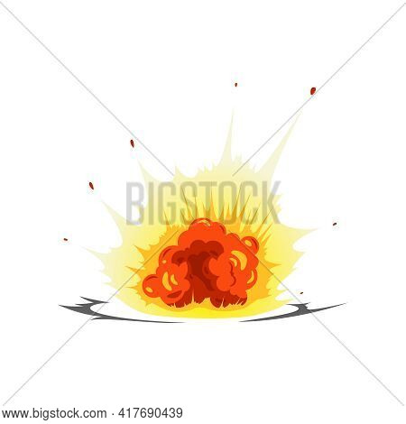 Bomb Explosion Fire Bang Amination Composition With View Of Ground Explosion With Fire On Blank Back