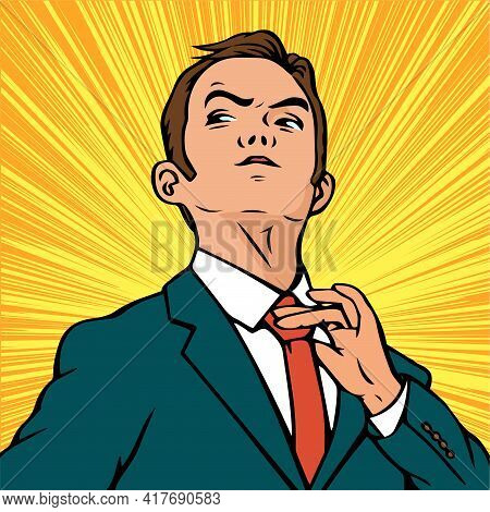 Portrait Of A Young Ambitious Businessman. A Man In A Business Suit And Tie. Vector Pop Art Retro Il