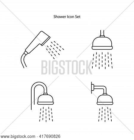 Shower Icon Set Isolated On White Background From Bathroom Collection. Shower Icon Thin Line Outline