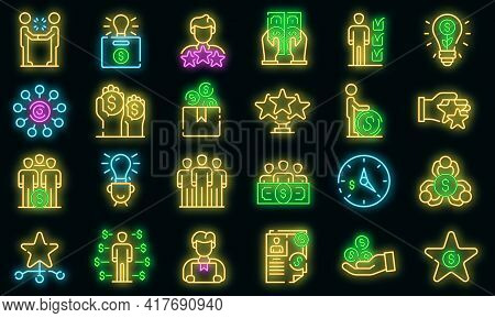 Crowdfunding Icons Set. Outline Set Of Crowdfunding Vector Icons Neon Color On White