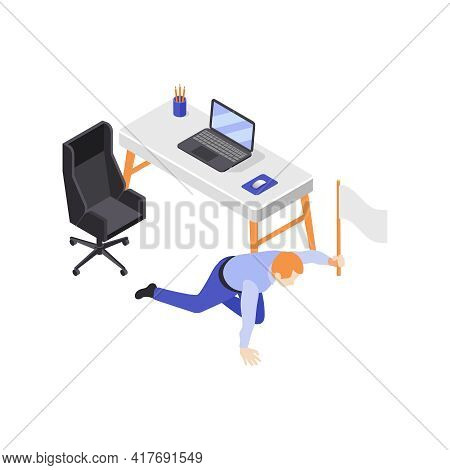 Burn-out Syndrome Isometric Icons Composition With Creeping Office Worker Holding White Flag Vector