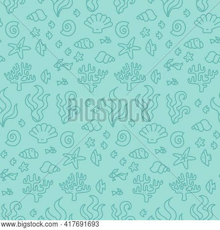 Doodle Seamless Turquoise Coral Reef Seamless Pattern For Textile, Paper Design, Backgrounds. Under
