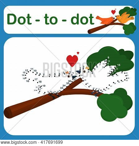 Dot To Dot Game For Kids Vector Illustration. Number Drawing Line Puzzle Game. Coloring Page For Chi
