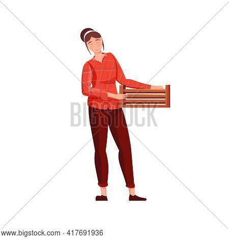 Migrant Workers Flat Composition With Female Character With Wooden Box For Collecting Fruits Vector