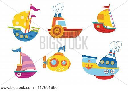 Cute Colorful Set Of Vector Boats. Ship Children S Print Is Bright. For The Decor Of Postcards, Clot