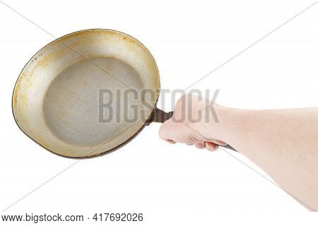 Bare Caucasian Hand Holding Empty Old Aluminium Frying Pan