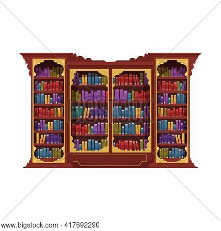 Old Library Interior Composition With Isolated Image Of Cabinet Rack Filled With Vintage Books Vecto