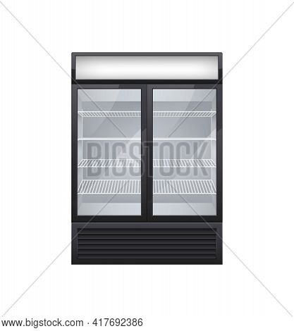 Commercial Glass Door Drink Fridge Realistic Composition With Isolated Image Of Shop Fridge With Two