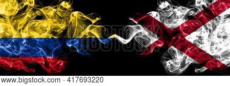 Colombia, Colombian Vs Alabama, Alabamian Smoky Mystic Flags Placed Side By Side. Thick Colored Silk