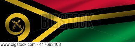 Banner With The Flag Of Vanuatu. Fabric Texture Of The Flag Of Vanuatu.