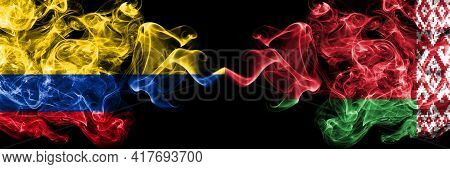 Colombia, Colombian Vs Belarus, Belarusian Smoky Mystic Flags Placed Side By Side. Thick Colored Sil