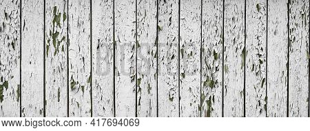 White Flaky Paint On A Old Weathered Wooden Fence. Vintage Wood Background. Peeling Paint Flakes. Ol