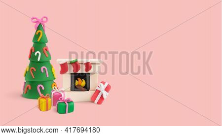 Christmas Plasticine Realistic Composition With Images Of Chimney Gifts And New Year Tree Hand Made