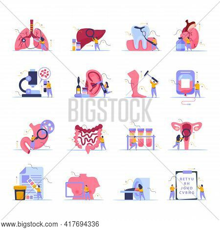 Health Checkup Icons Set With Checklist Symbols Flat Isolated Vector Illustration