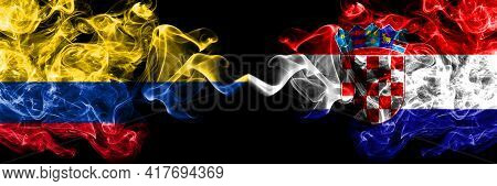 Colombia, Colombian Vs Croatia, Croatian Smoky Mystic Flags Placed Side By Side. Thick Colored Silky