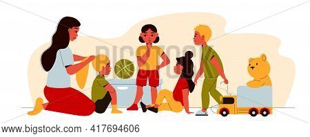 Kindergarten Composition With Human Character Of Nanny Tying Girls Hair Into Braid With Children And