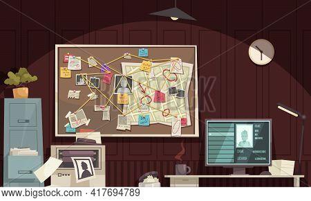 Detective Office Interior Flat Cartoon Composition With Crime Scene Diagram Board Computer Monitor C