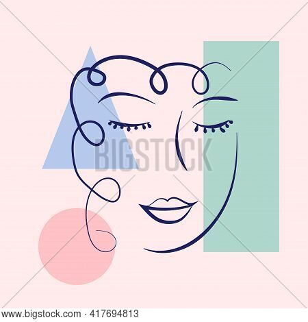 Woman Portrait In Modern Abstract Style. Hand Drawn Illustration For Contemporary Fashion Design.