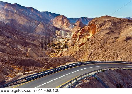 Magnificent highway runs through the Eilat Mountains. The highway connects the southernmost city of Israel to the center of the country. Landscape formations in the mountains around Eilat