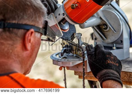 Ukraine Kiev June 22, 2019.stihl Chainsaw In Kiev. Stihl Is A German Manufacturer Of Chainsaws And O
