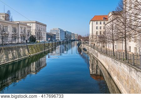 Berlin, Germany - March 1, 2021: Berlin-spandau Shipping Canal With The Late Classicist Style Buildi