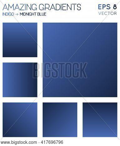 Colorful Gradients In Indigo, Midnight Blue Color Tones. Actual Background, Memorable Vector Illustr