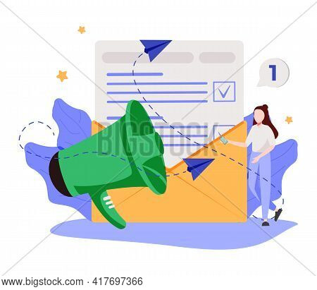 Company Latest News Abstract Concept Vector Illustration. Glossary And Newsletter, Press Web Page, M
