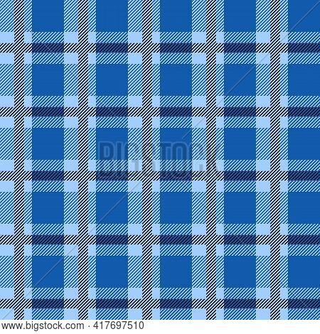 Blue Scotland Textile Seamless Pattern. Fabric Texture Check Tartan Plaid. Abstract Geometric Backgr