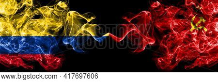 Colombia, Colombian Vs Ussr, Soviet, Russia, Russian, Communism Smoky Mystic Flags Placed Side By Si